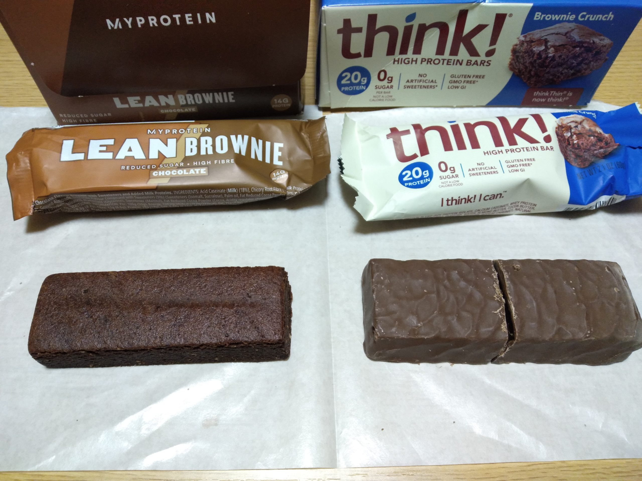 マイプロテインのリーンブラウニーとthink!のブラウニークランチの比較