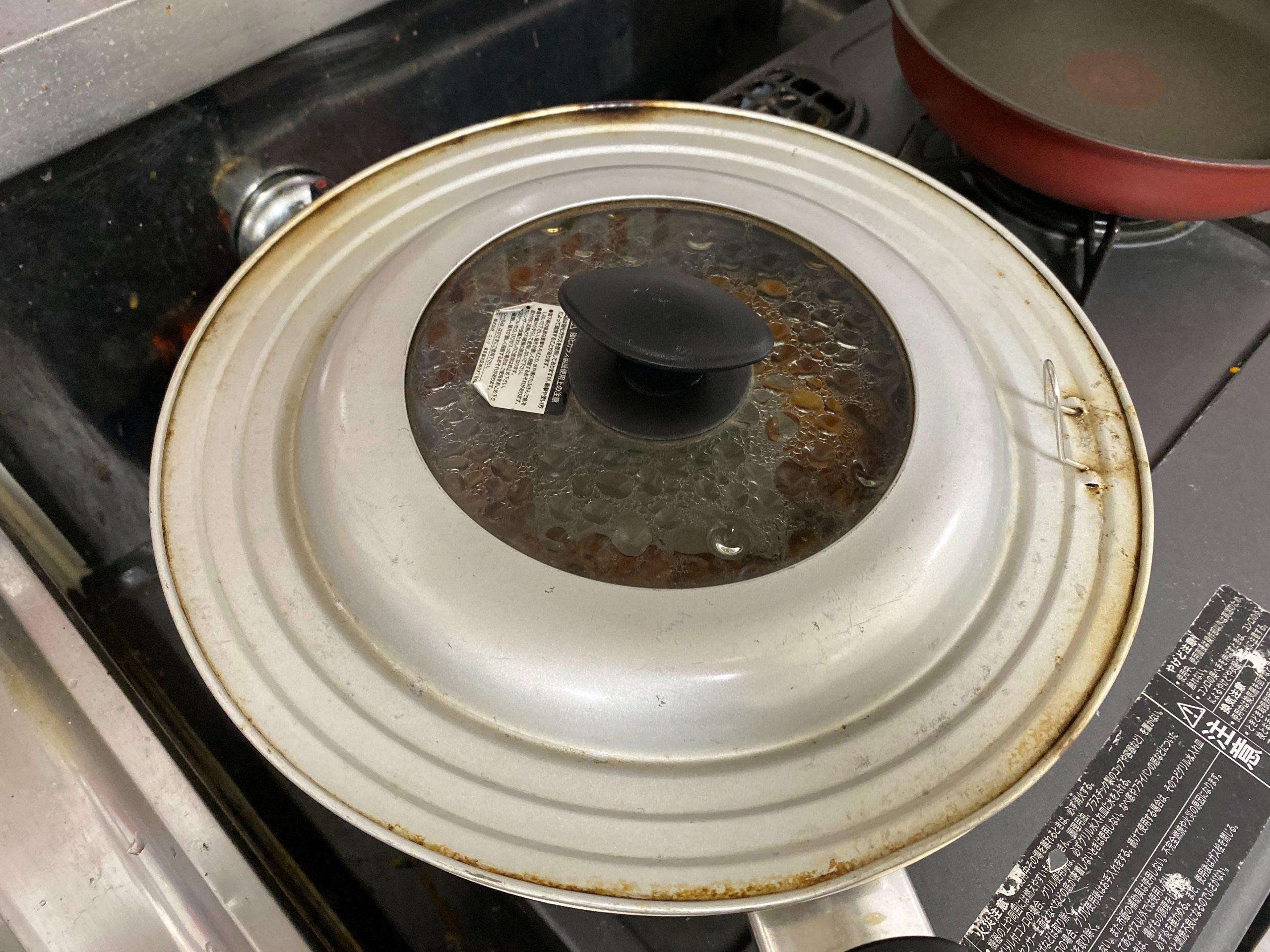 ふたを閉めて弱火で湯煎しました
