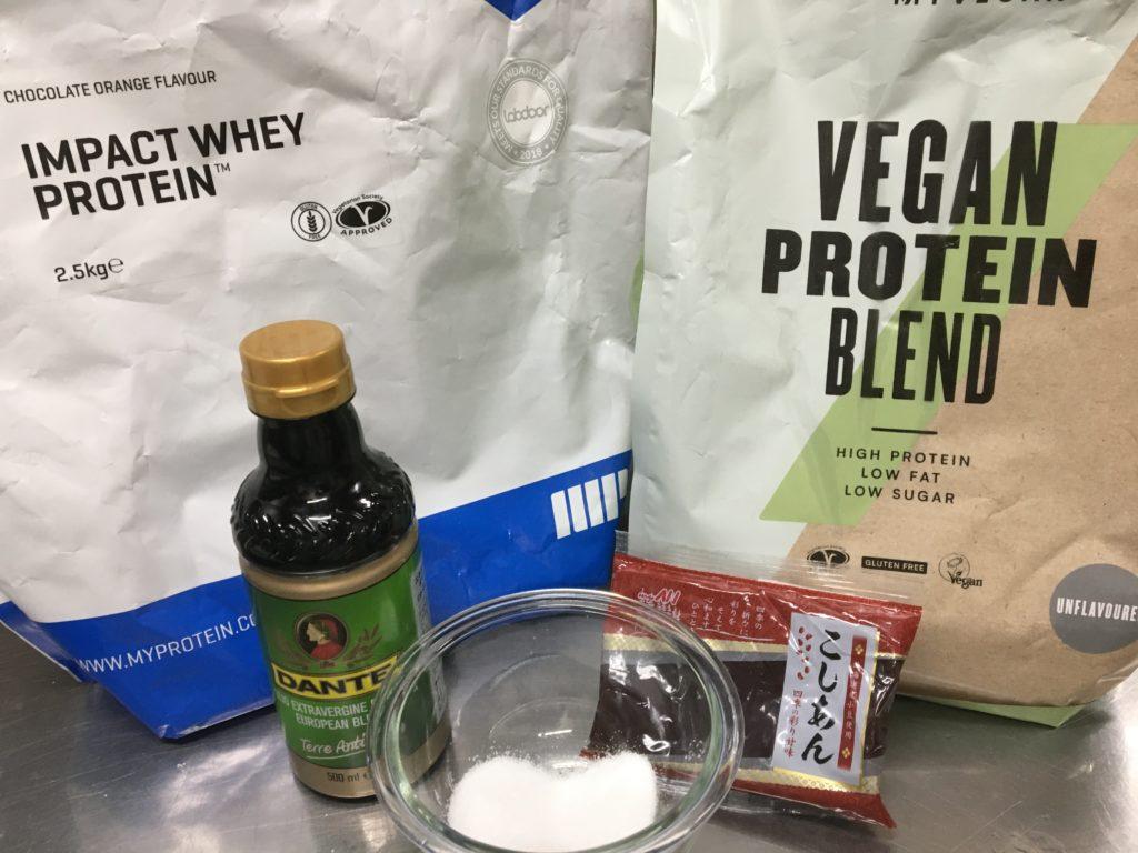 プロテイン蒸しケーキの材料と栄養素