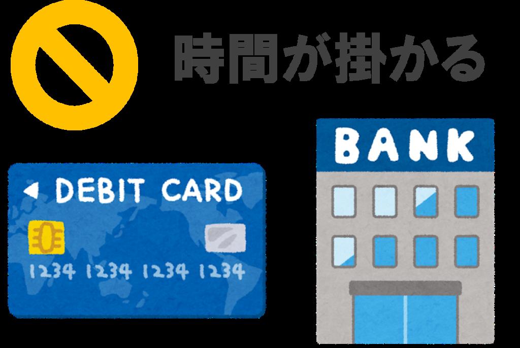 デビットカードや銀行口座は時間が掛かる