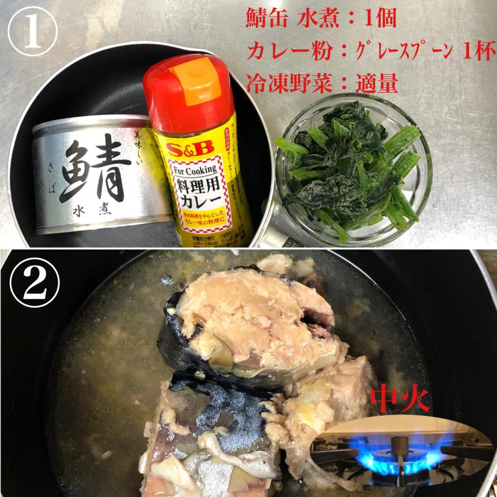 ①材料は鯖缶水煮1個、カレー粉 グレースプーン1杯(5g)、お好みの(冷凍)野菜。