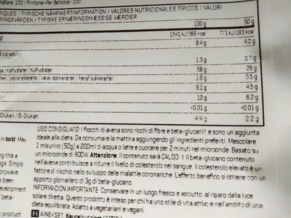 ロールド オーツ(押し麦)の成分表
