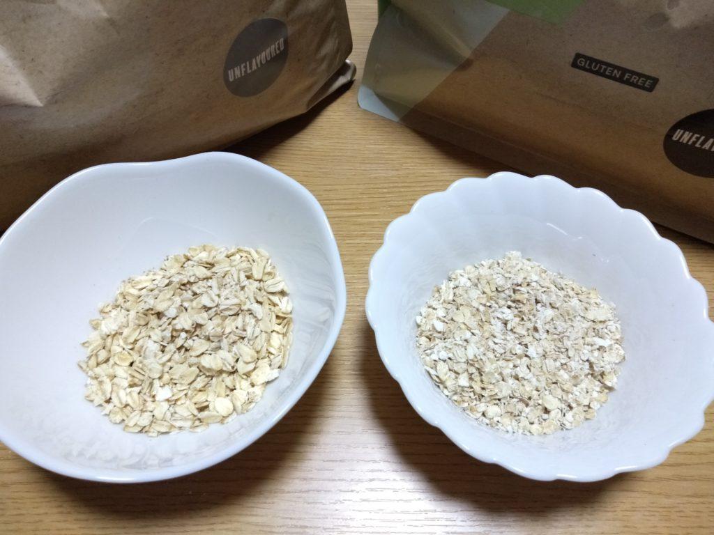 ロールドオーツ(押し麦)とグルテンフリーロールドオーツの比較