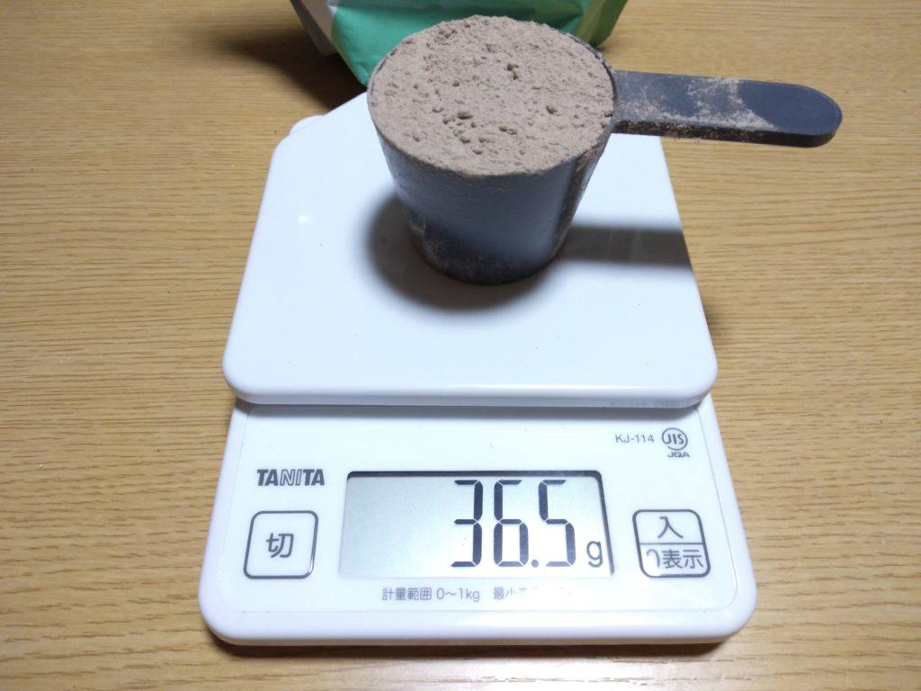 リーンホットチョコレートのスプーン摺り切り一杯のグラム数は36.5g