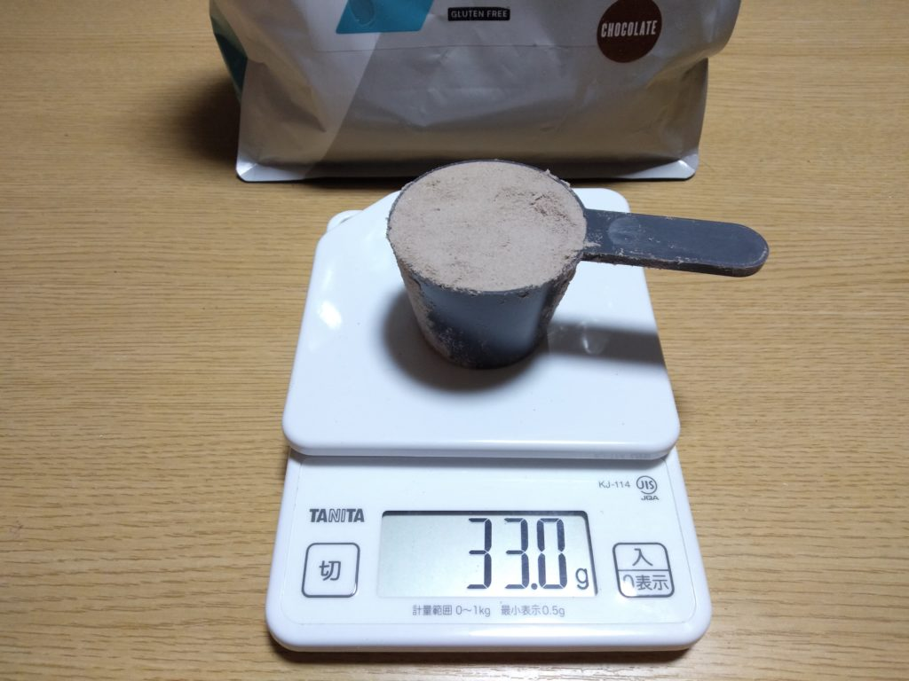 プロテインホットチョコレートのスプーン摺り切り一杯のグラム数は33g