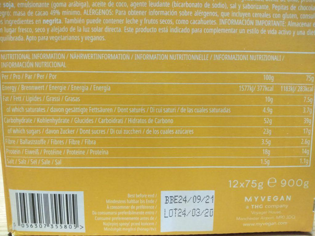 ソルディットキャラメル味の成分表