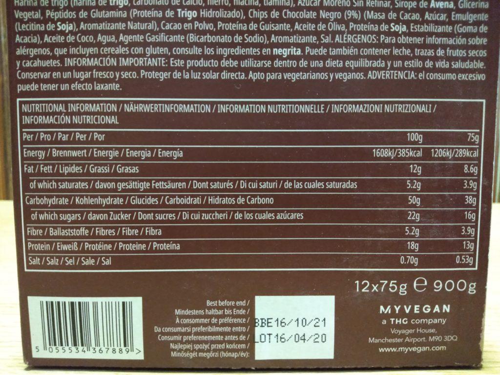 ダブルチョコレート味の成分表