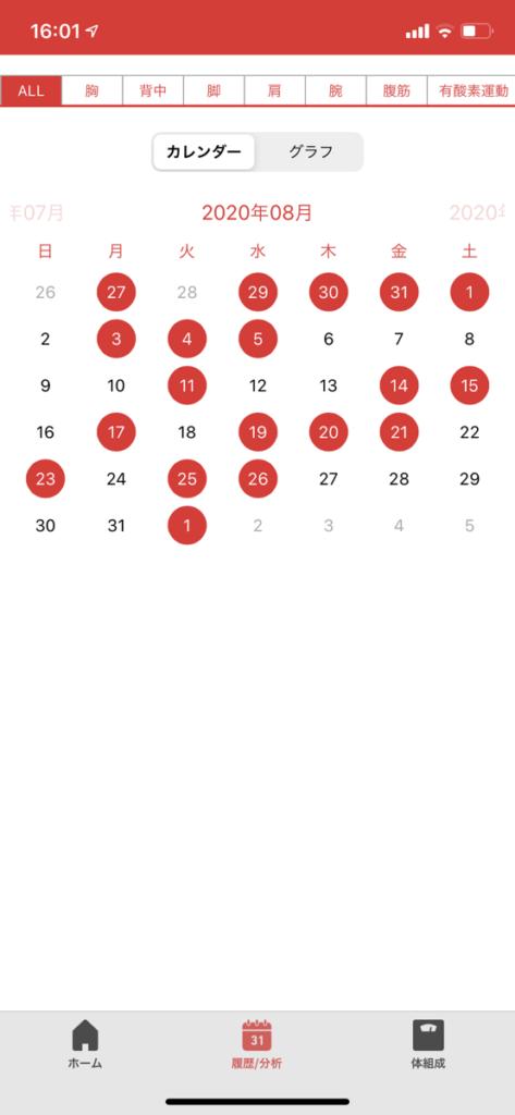2020年8月の筋トレ頻度