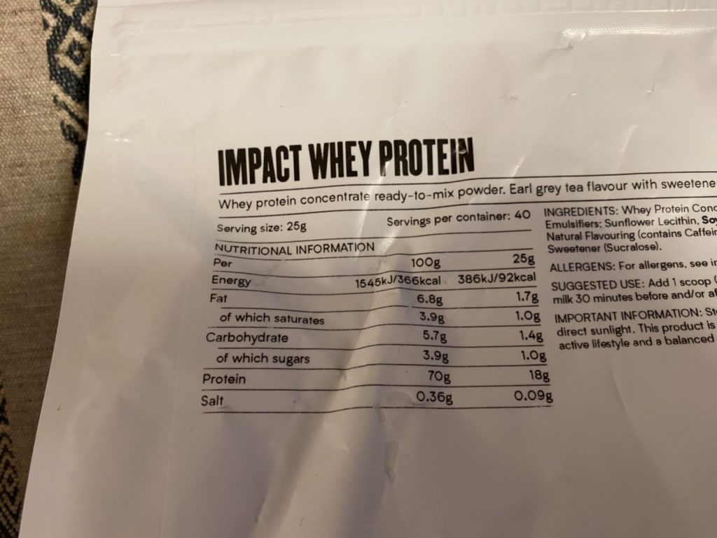 Impactホエイプロテイン:アールグレイ味の成分表