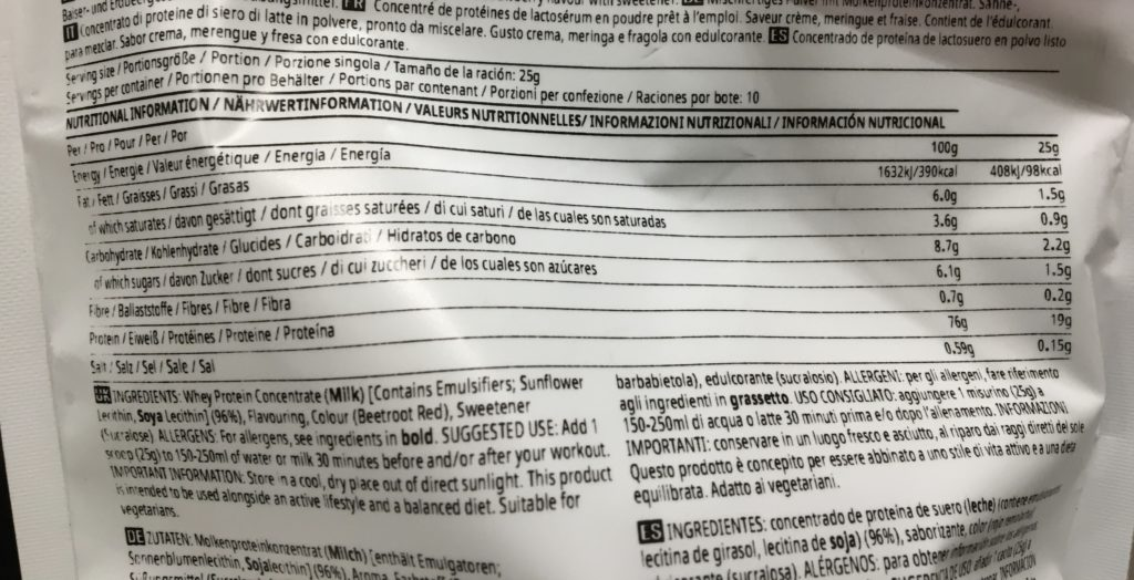イートン メス味の成分表を確認:タンパク質含有量は76%と少し控えめ