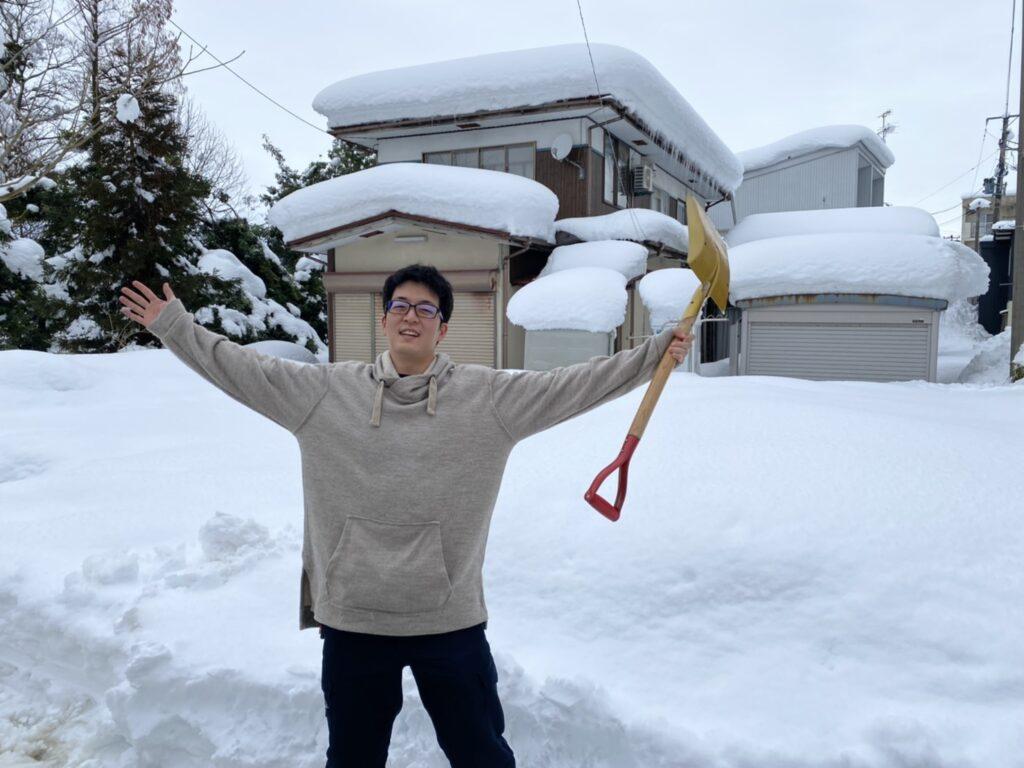 雪にお手上げの様子